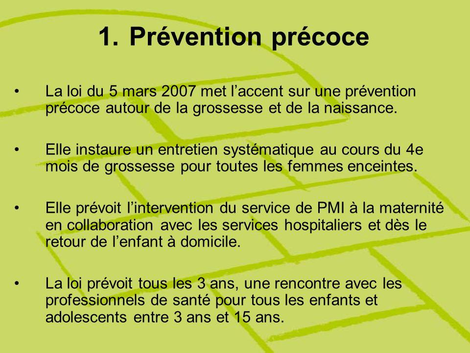 1.Prévention précoce La loi du 5 mars 2007 met laccent sur une prévention précoce autour de la grossesse et de la naissance. Elle instaure un entretie
