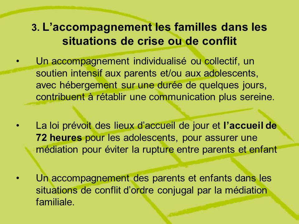 3. Laccompagnement les familles dans les situations de crise ou de conflit Un accompagnement individualisé ou collectif, un soutien intensif aux paren
