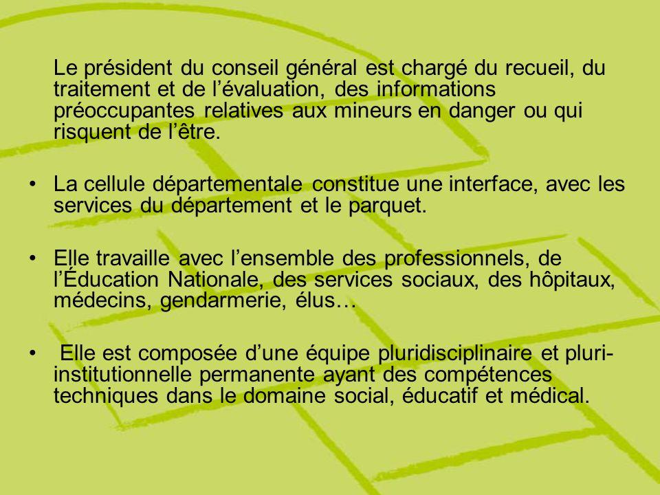 Le président du conseil général est chargé du recueil, du traitement et de lévaluation, des informations préoccupantes relatives aux mineurs en danger