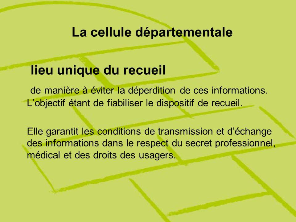 La cellule départementale lieu unique du recueil de manière à éviter la déperdition de ces informations. Lobjectif étant de fiabiliser le dispositif d