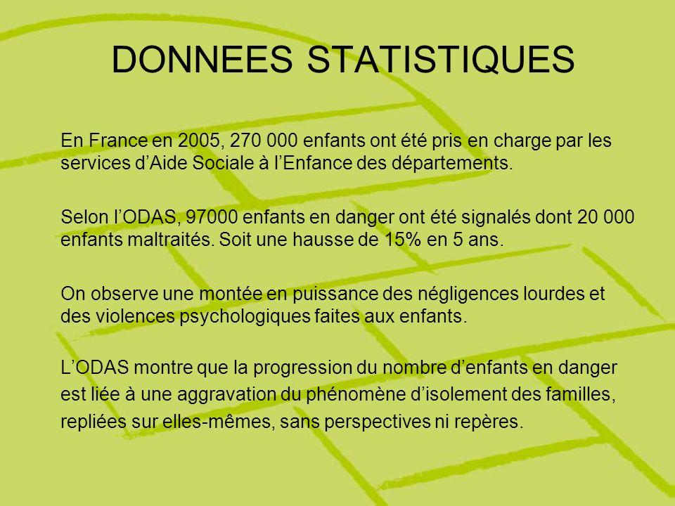 DONNEES STATISTIQUES En France en 2005, 270 000 enfants ont été pris en charge par les services dAide Sociale à lEnfance des départements. Selon lODAS