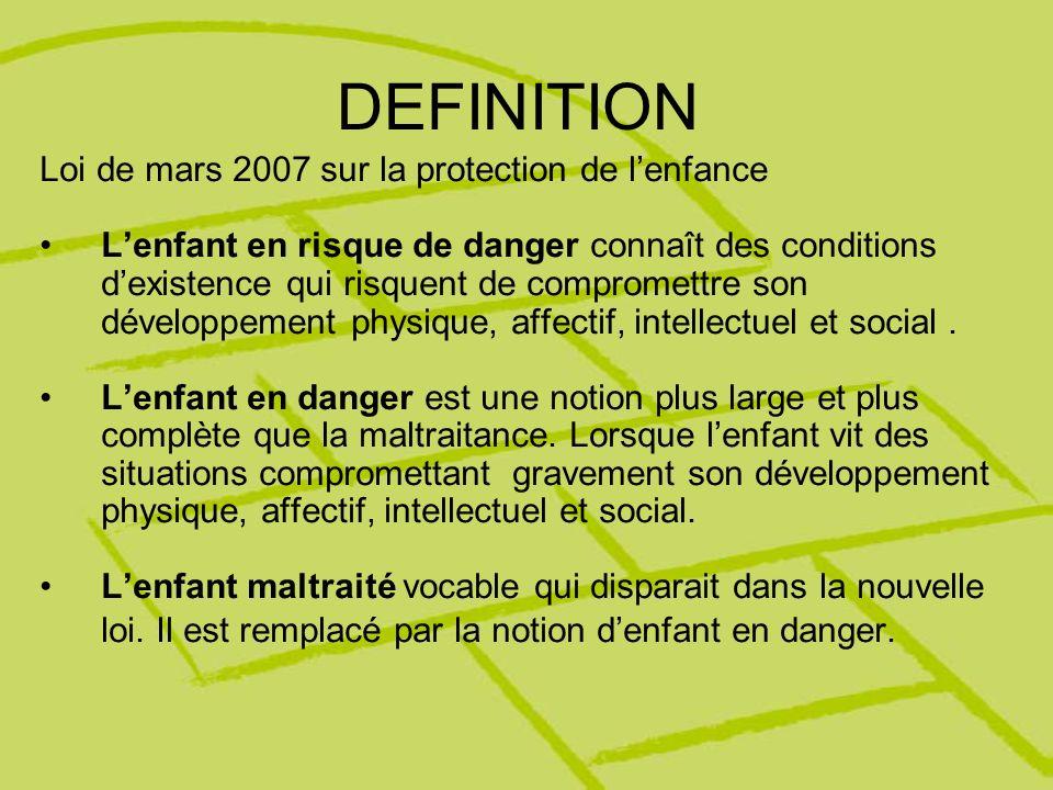 DEFINITION Loi de mars 2007 sur la protection de lenfance Lenfant en risque de danger connaît des conditions dexistence qui risquent de compromettre s