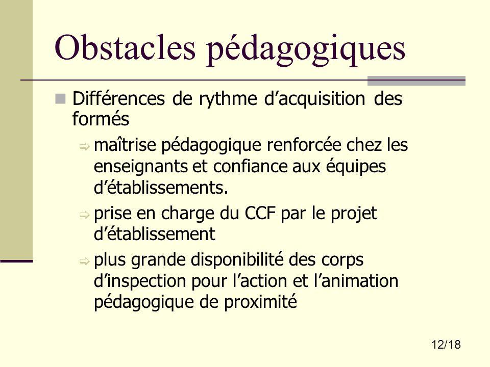 12/18 Obstacles pédagogiques Différences de rythme dacquisition des formés maîtrise pédagogique renforcée chez les enseignants et confiance aux équipe