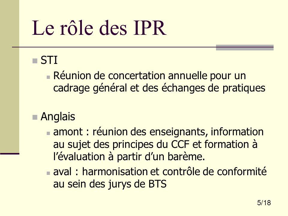 5/18 Le rôle des IPR STI Réunion de concertation annuelle pour un cadrage général et des échanges de pratiques Anglais amont : réunion des enseignants
