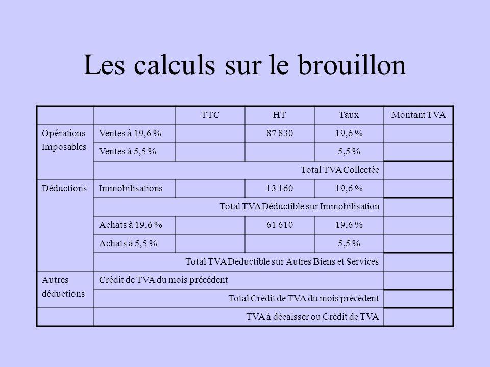 Les calculs sur le brouillon TTCHTTauxMontant TVA Opérations Imposables Ventes à 19,6 %19,6 % Ventes à 5,5 %5,5 % Total TVA Collectée DéductionsImmobi