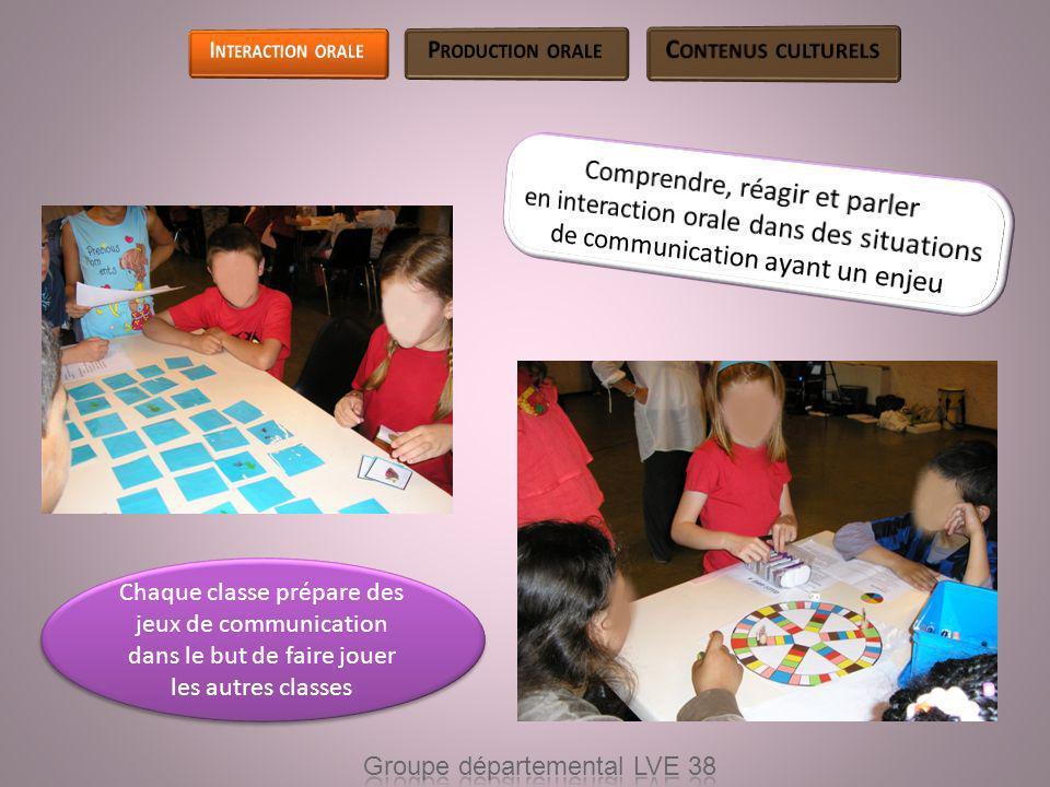 Chaque classe prépare des jeux de communication dans le but de faire jouer les autres classes