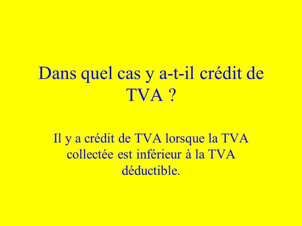 Dans quel cas y a-t-il crédit de TVA ? Il y a crédit de TVA lorsque la TVA collectée est inférieur à la TVA déductible.