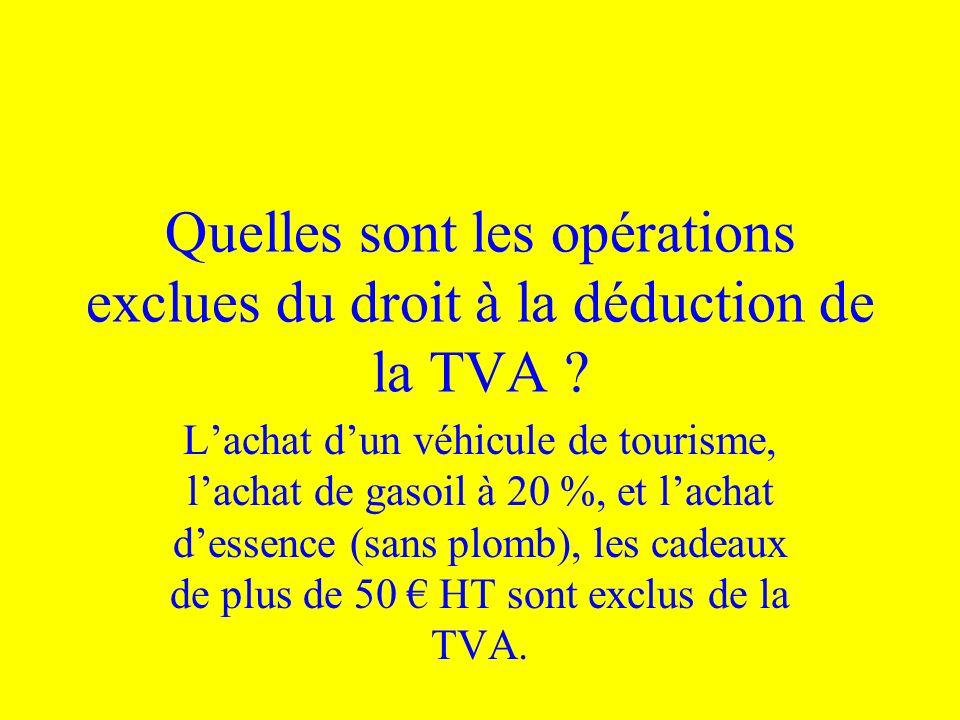 Quelles sont les opérations exclues du droit à la déduction de la TVA ? Lachat dun véhicule de tourisme, lachat de gasoil à 20 %, et lachat dessence (