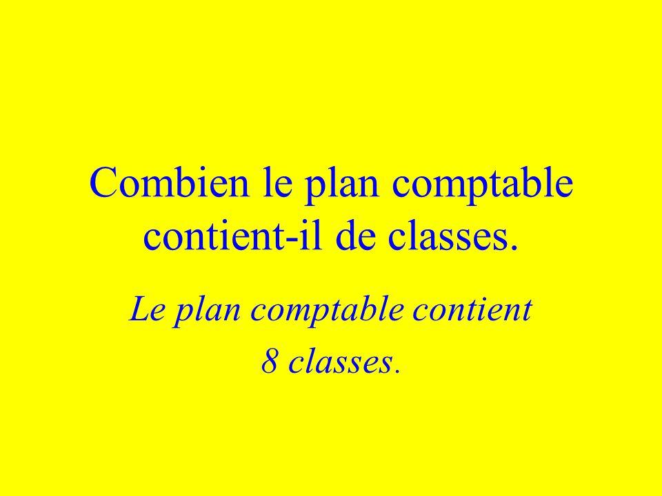 Combien le plan comptable contient-il de classes. Le plan comptable contient 8 classes.