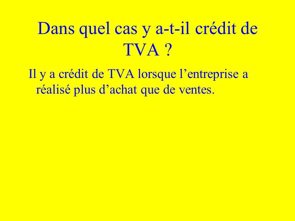 Dans quel cas y a-t-il crédit de TVA ? Il y a crédit de TVA lorsque lentreprise a réalisé plus dachat que de ventes.