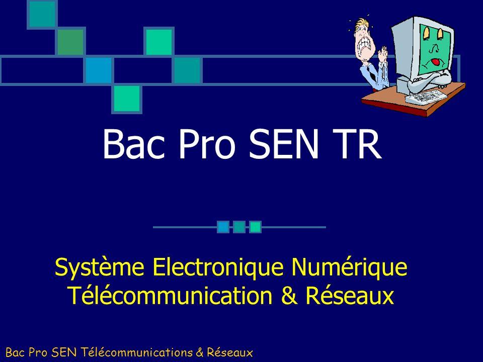 Bac Pro SEN TR Système Electronique Numérique Télécommunication & Réseaux Bac Pro SEN Télécommunications & Réseaux