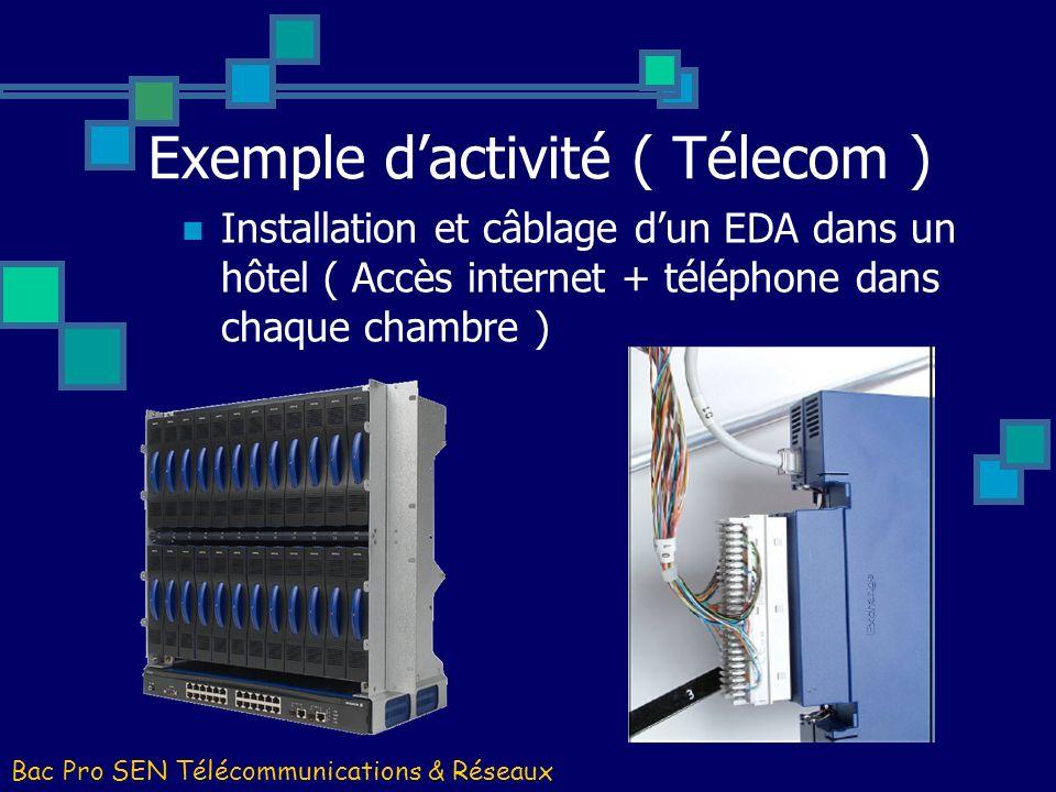 Exemple dactivité ( Télecom ) Bac Pro SEN Télécommunications & Réseaux Installation et câblage dun EDA dans un hôtel ( Accès internet + téléphone dans
