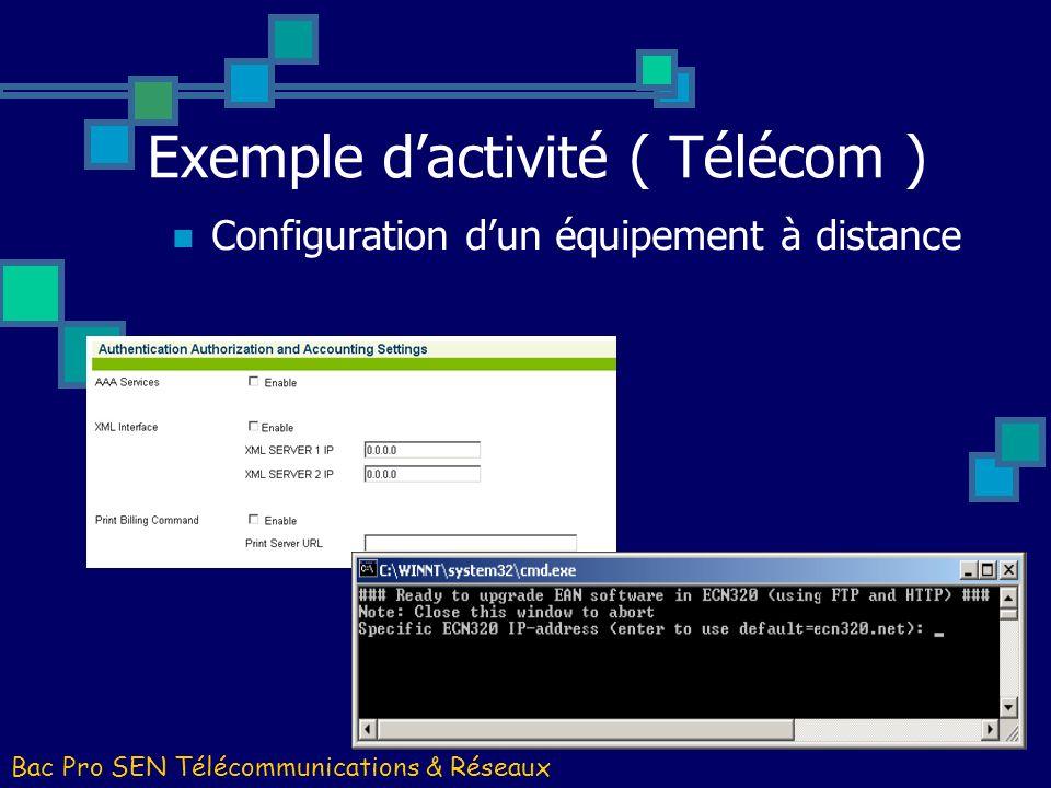 Bac Pro SEN Télécommunications & Réseaux Configuration dun équipement à distance Exemple dactivité ( Télécom )