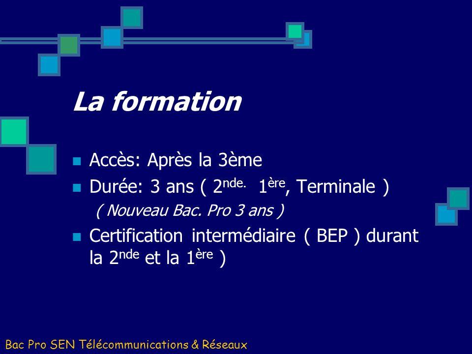 La formation Accès: Après la 3ème Durée: 3 ans ( 2 nde. 1 ère, Terminale ) ( Nouveau Bac. Pro 3 ans ) Certification intermédiaire ( BEP ) durant la 2