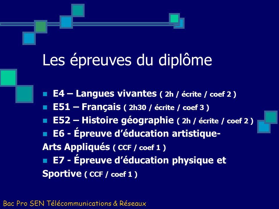 Les épreuves du diplôme E4 – Langues vivantes ( 2h / écrite / coef 2 ) E51 – Français ( 2h30 / écrite / coef 3 ) E52 – Histoire géographie ( 2h / écri