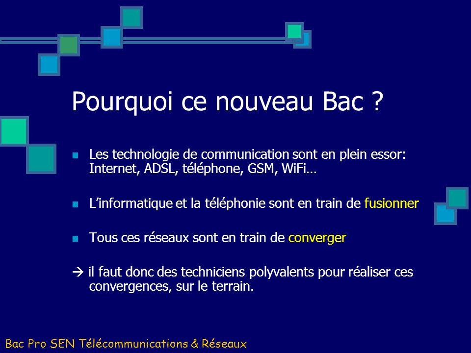 Pourquoi ce nouveau Bac ? Les technologie de communication sont en plein essor: Internet, ADSL, téléphone, GSM, WiFi… Linformatique et la téléphonie s