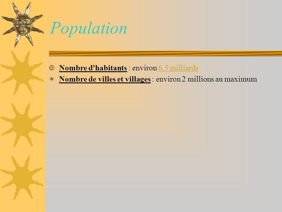 Population Nombre d'habitants : environ 6,5 milliards6,5 milliards Nombre de villes et villages : environ 2 millions au maximum