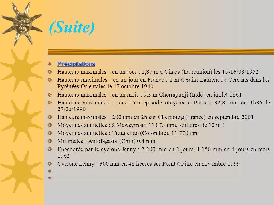 (Suite) Précipitations Précipitations Hauteurs maximales : en un jour : 1,87 m à Cilaos (La réunion) les 15-16/03/1952 Hauteurs maximales : en un jour
