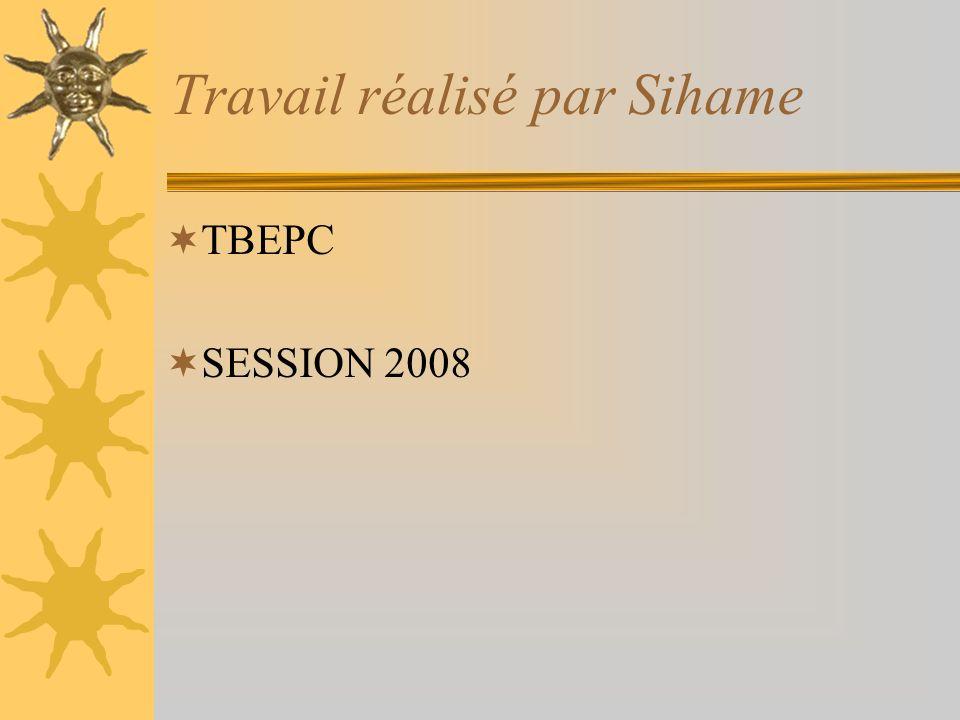 Travail réalisé par Sihame TBEPC SESSION 2008