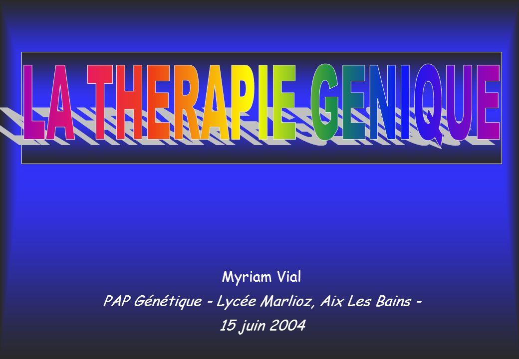 Définition thérapie géniqueLa thérapie génique consiste à : introduire dans une ¢-cible un gène dintérêt thérapeutique afin quil produise - une protéine manquante (¢ déficiente) ou - un signal qui conduira à la mort de la cellule (¢ infectée ou ¢ cancéreuse).