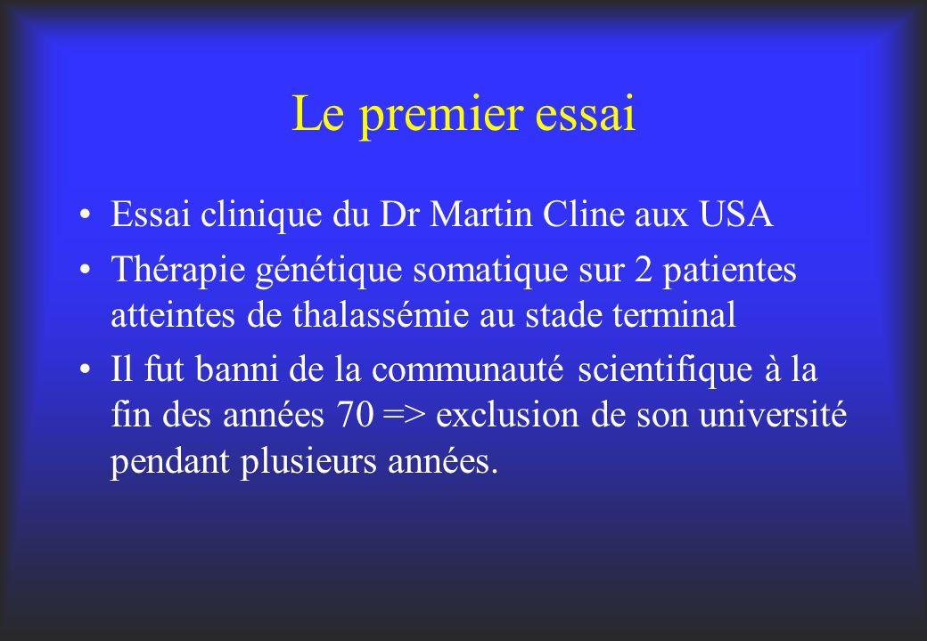 Le premier essai Essai clinique du Dr Martin Cline aux USA Thérapie génétique somatique sur 2 patientes atteintes de thalassémie au stade terminal Il