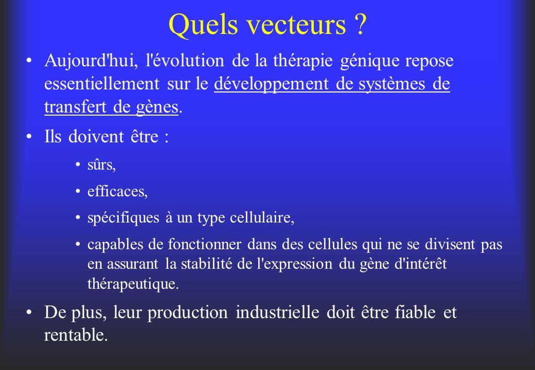 Quels vecteurs ? Aujourd'hui, l'évolution de la thérapie génique repose essentiellement sur le développement de systèmes de transfert de gènes. Ils do