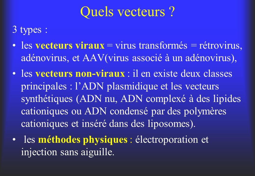 Quels vecteurs ? 3 types : les vecteurs viraux = virus transformés = rétrovirus, adénovirus, et AAV(virus associé à un adénovirus), les vecteurs non-v