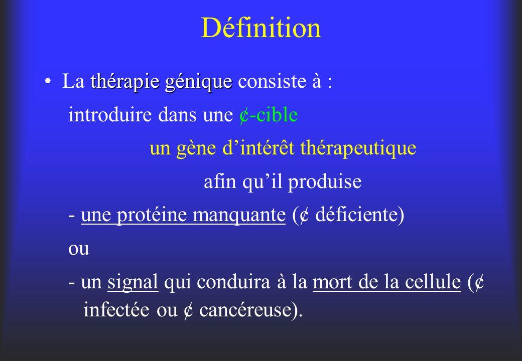 Définition thérapie géniqueLa thérapie génique consiste à : introduire dans une ¢-cible un gène dintérêt thérapeutique afin quil produise - une protéi
