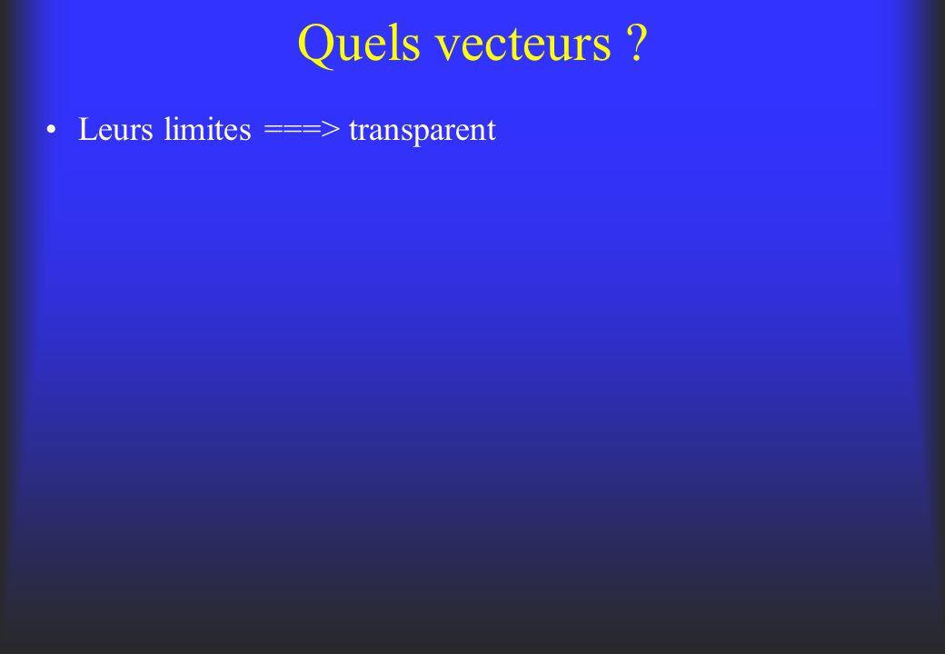 Quels vecteurs ? Leurs limites ===> transparent