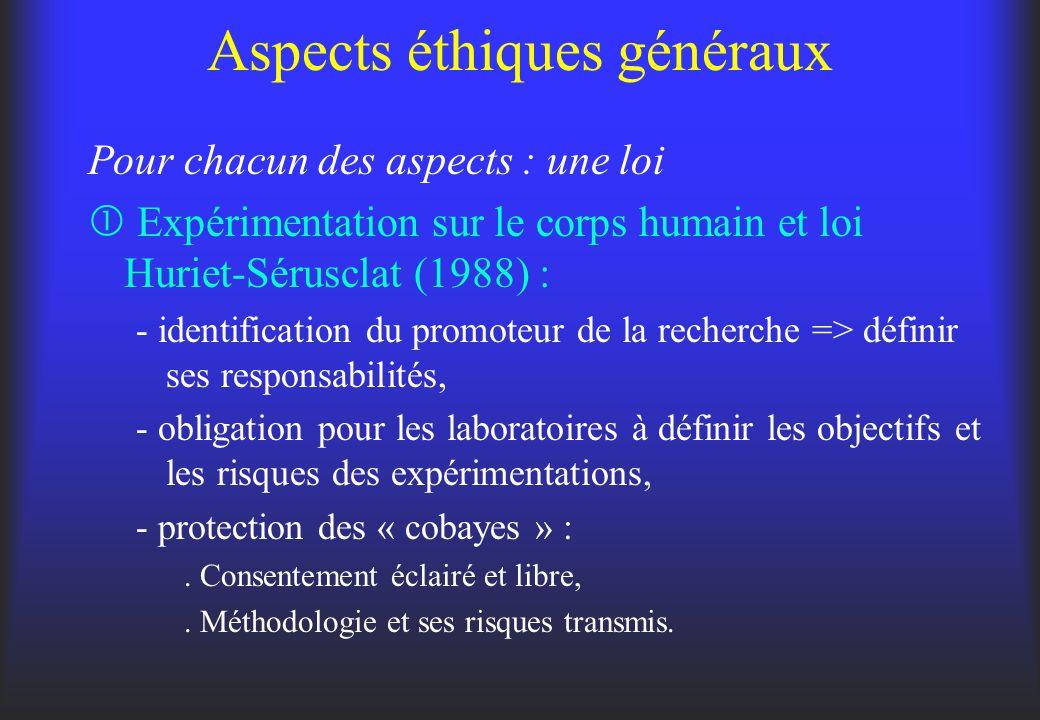 Aspects éthiques généraux Pour chacun des aspects : une loi Expérimentation sur le corps humain et loi Huriet-Sérusclat (1988) : - identification du p