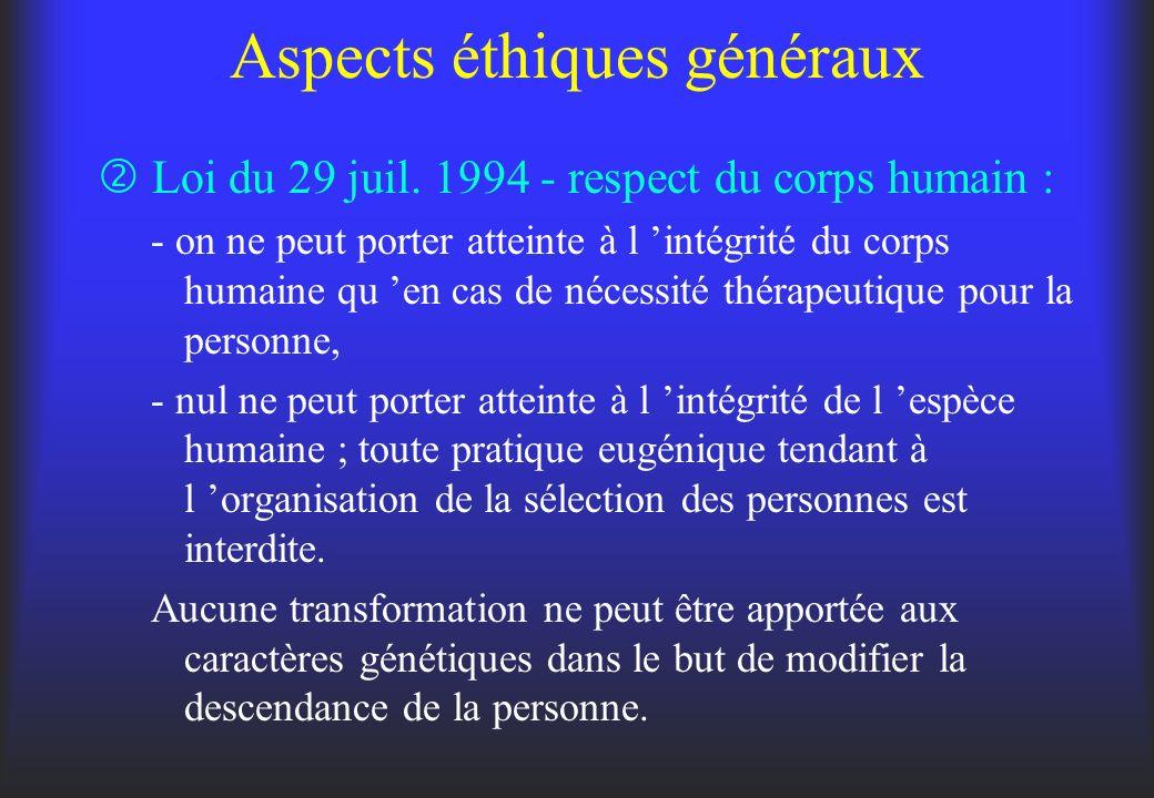 Aspects éthiques généraux Loi du 29 juil. 1994 - respect du corps humain : - on ne peut porter atteinte à l intégrité du corps humaine qu en cas de né