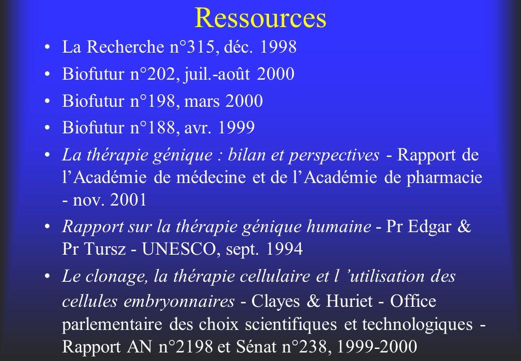 Ressources La Recherche n°315, déc. 1998 Biofutur n°202, juil.-août 2000 Biofutur n°198, mars 2000 Biofutur n°188, avr. 1999 La thérapie génique : bil