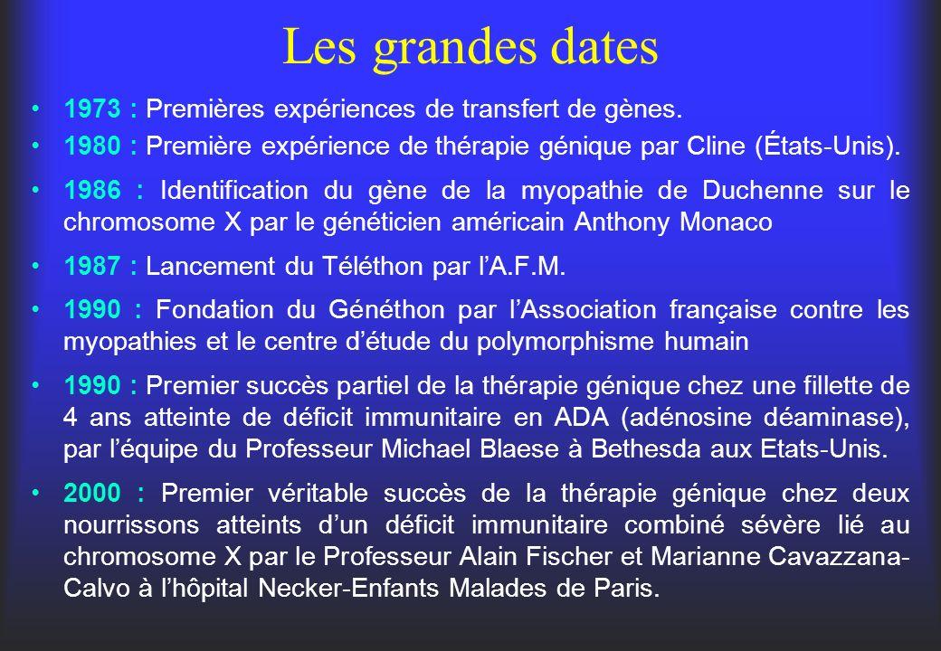 Les grandes dates 1973 : Premières expériences de transfert de gènes. 1980 : Première expérience de thérapie génique par Cline (États-Unis). 1986 : Id