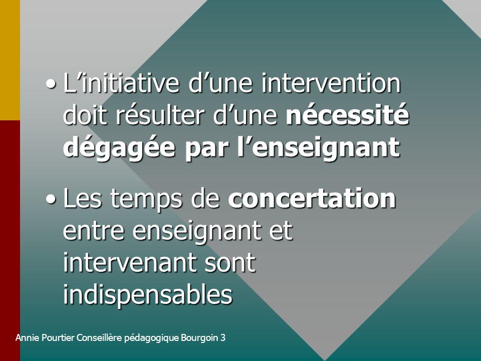 Annie Pourtier Conseillère pédagogique Bourgoin 3 Linitiative dune intervention doit résulter dune nécessité dégagée par lenseignantLinitiative dune i