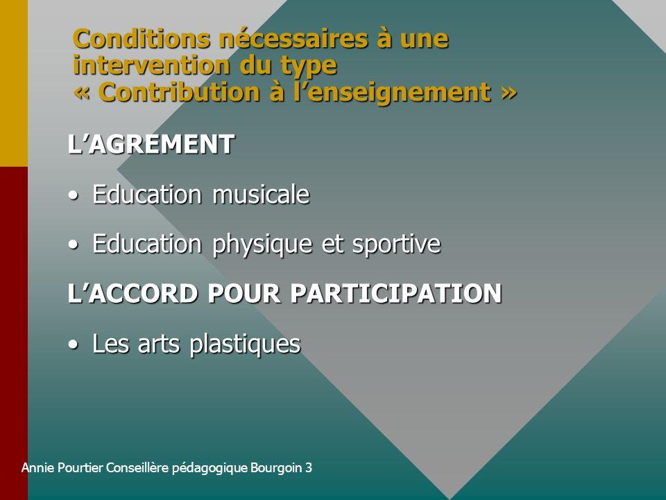 Annie Pourtier Conseillère pédagogique Bourgoin 3 Conditions nécessaires à une intervention du type « Contribution à lenseignement » LAGREMENT Educati