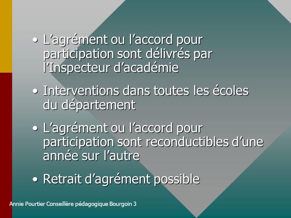 Annie Pourtier Conseillère pédagogique Bourgoin 3 Lagrément ou laccord pour participation sont délivrés par lInspecteur dacadémieLagrément ou laccord