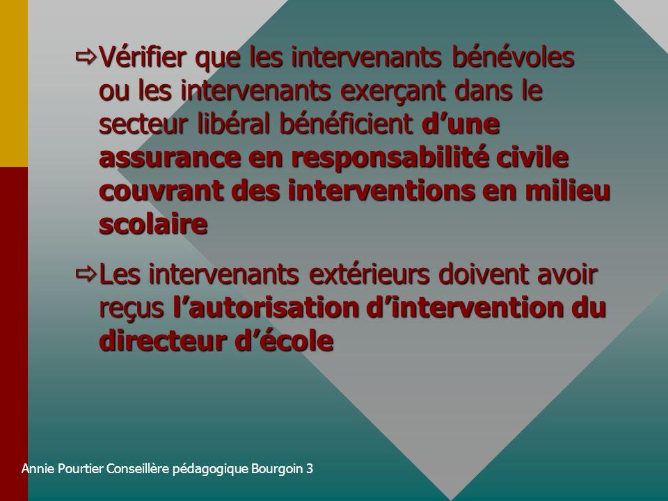 Annie Pourtier Conseillère pédagogique Bourgoin 3 Vérifier que les intervenants bénévoles ou les intervenants exerçant dans le secteur libéral bénéfic