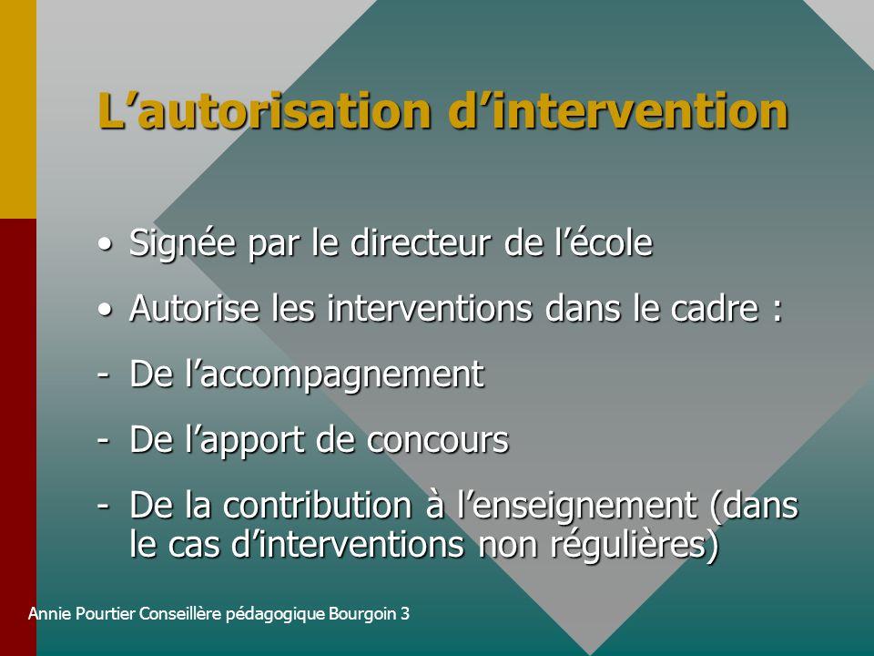 Annie Pourtier Conseillère pédagogique Bourgoin 3 Lautorisation dintervention Signée par le directeur de lécoleSignée par le directeur de lécole Autor