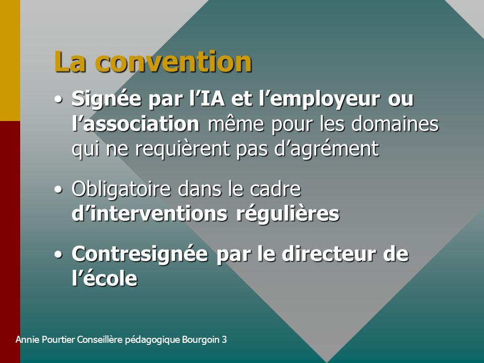 Annie Pourtier Conseillère pédagogique Bourgoin 3 La convention Signée par lIA et lemployeur ou lassociation même pour les domaines qui ne requièrent