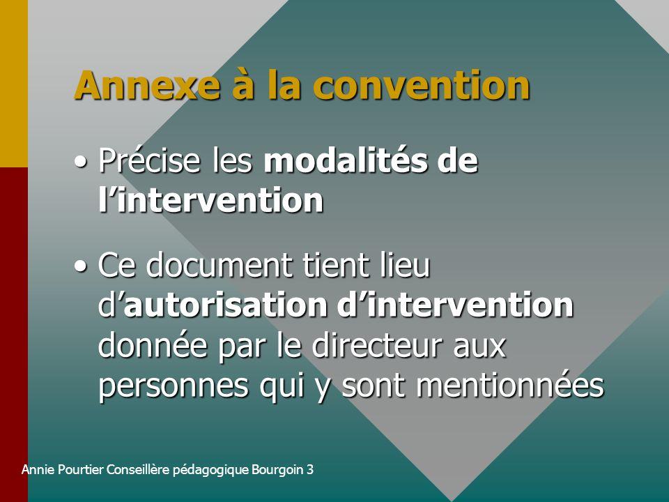 Annie Pourtier Conseillère pédagogique Bourgoin 3 Annexe à la convention Précise les modalités de linterventionPrécise les modalités de lintervention