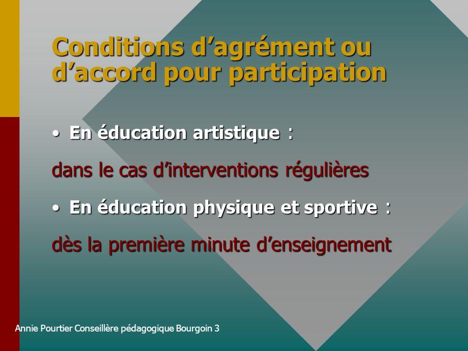 Annie Pourtier Conseillère pédagogique Bourgoin 3 Conditions dagrément ou daccord pour participation En éducation artistique :En éducation artistique