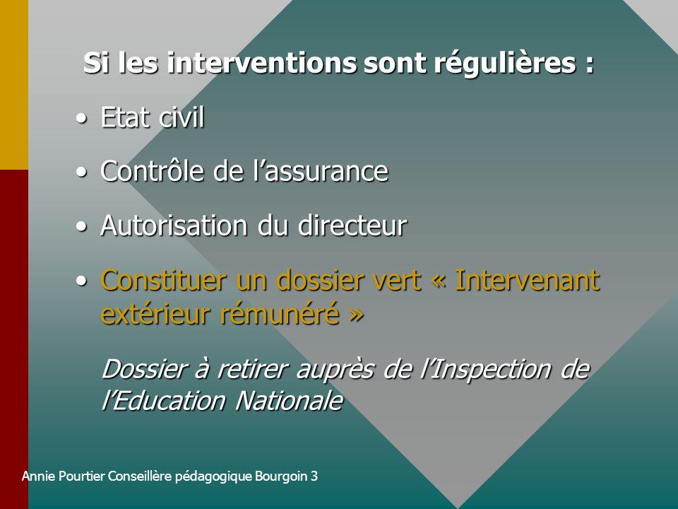 Annie Pourtier Conseillère pédagogique Bourgoin 3 Si les interventions sont régulières : Si les interventions sont régulières : Etat civilEtat civil C