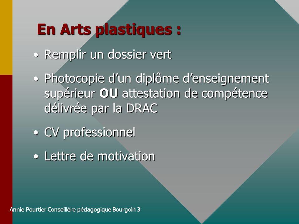 Annie Pourtier Conseillère pédagogique Bourgoin 3 En Arts plastiques : En Arts plastiques : Remplir un dossier vertRemplir un dossier vert Photocopie