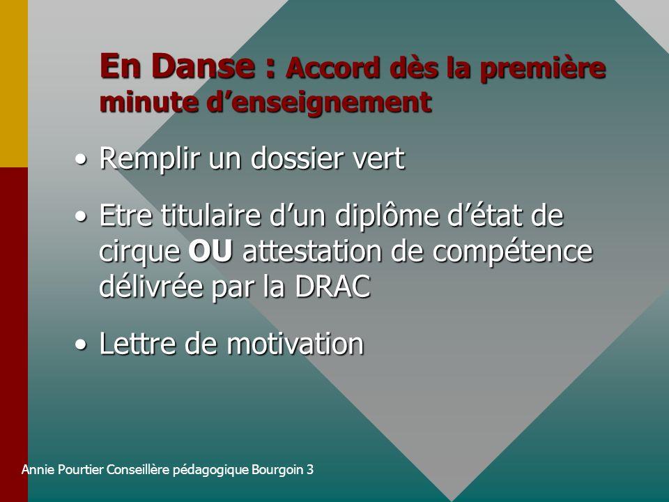 Annie Pourtier Conseillère pédagogique Bourgoin 3 En Danse : Accord dès la première minute denseignement Remplir un dossier vertRemplir un dossier ver