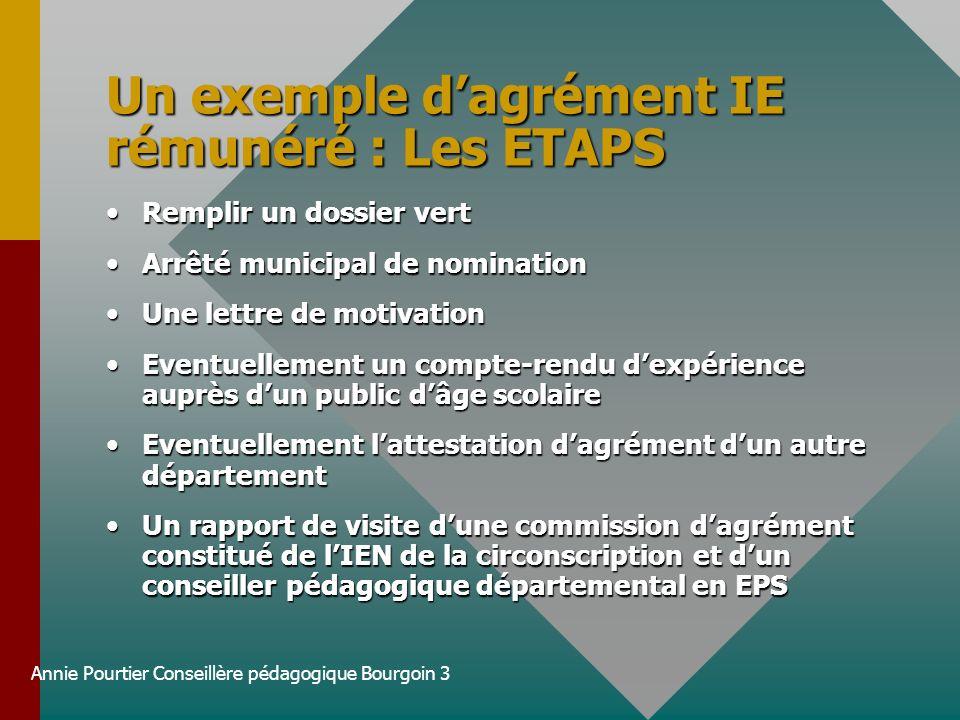 Annie Pourtier Conseillère pédagogique Bourgoin 3 Un exemple dagrément IE rémunéré : Les ETAPS Remplir un dossier vertRemplir un dossier vert Arrêté m