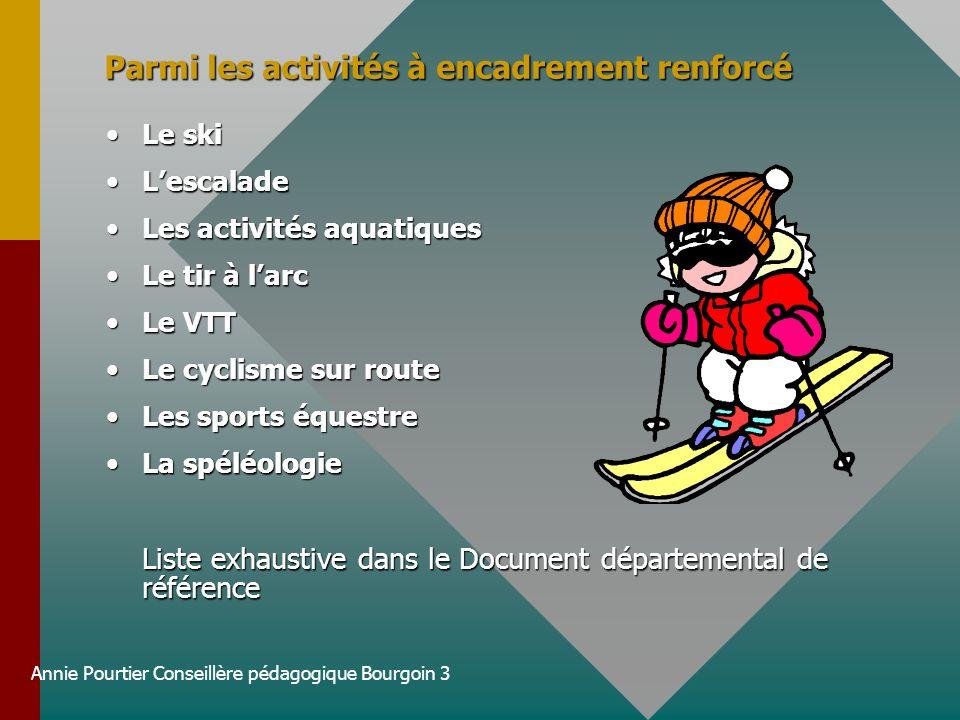 Annie Pourtier Conseillère pédagogique Bourgoin 3 Parmi les activités à encadrement renforcé Le skiLe ski LescaladeLescalade Les activités aquatiquesL