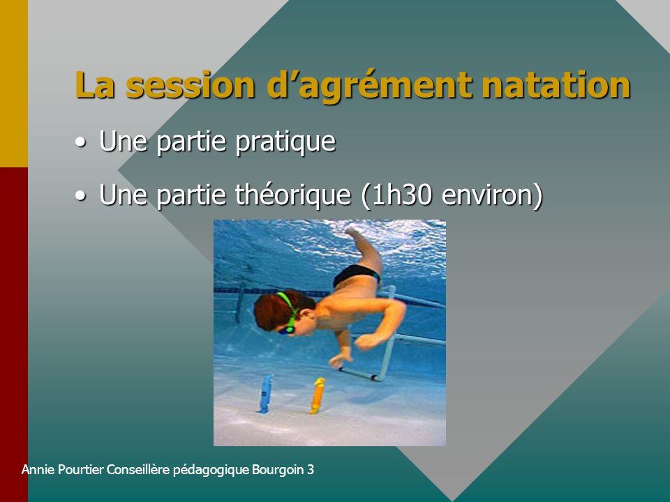 Annie Pourtier Conseillère pédagogique Bourgoin 3 La session dagrément natation Une partie pratiqueUne partie pratique Une partie théorique (1h30 envi