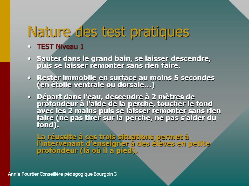 Annie Pourtier Conseillère pédagogique Bourgoin 3 Nature des test pratiques TEST Niveau 1TEST Niveau 1 Sauter dans le grand bain, se laisser descendre