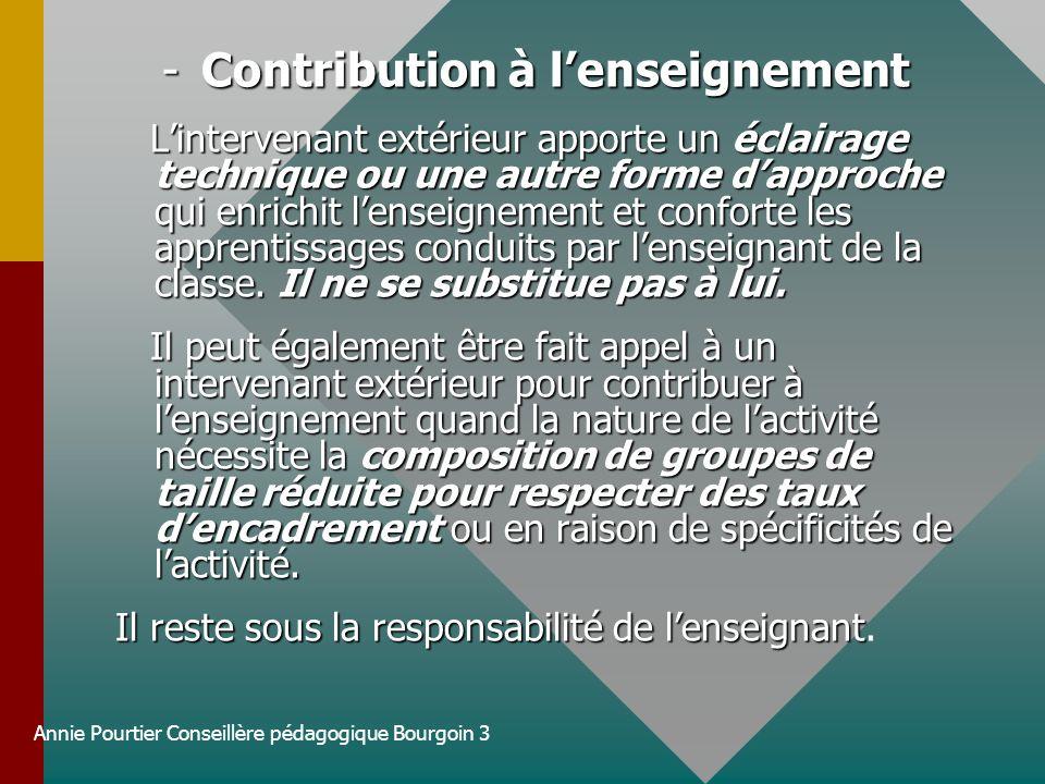 Annie Pourtier Conseillère pédagogique Bourgoin 3 -Contribution à lenseignement Lintervenant extérieur apporte un éclairage technique ou une autre for