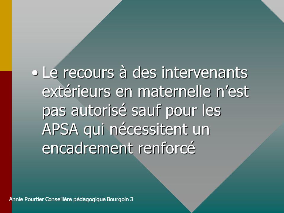 Annie Pourtier Conseillère pédagogique Bourgoin 3 Le recours à des intervenants extérieurs en maternelle nest pas autorisé sauf pour les APSA qui néce